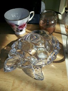 I love turtles of all kinds.  Home made spice candal.  And a nice rose cup for hot tea.
