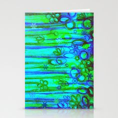 WINTER GARDEN -Bright Blue Green Neon Snowflake Floral Abstract Watercolor Painting and Digital Art Stationery Cards by EbiEmporium - $12.00