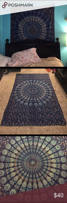 """Boho wall tapestry ✨❤️ PERFECT CONDITION. absolutely no flaws at all. This is directly from India and is hand made. 84"""" x 53"""" It is very large. This was very expensive! I had it hung up behind my bed for decoration. Make offers! I put VS pink just for views. PINK Victoria's Secret Tops Blouses"""
