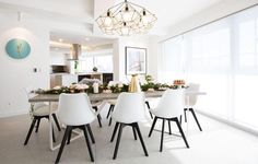So much love for this dining room! The white roller blinds were a perfect choice to keep this space filled with light. Image via     White Roller Blinds, Dining Chairs, Dining Table, Dining Rooms, Fashion Room, Foyer, New Homes, Sweet Home, Interior Design