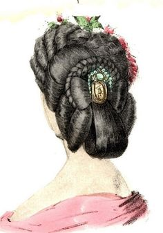 Fashionable Victorian evening hair style from a costume plate of the 1860s.