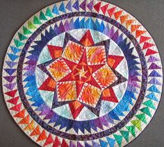 Round Quilted Geometric Wallhanging Art Quilt  by MooseCarolQuilts