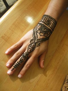 Engagement Mehndi Designs - Cuff And Finger-chain Design