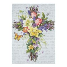 Shop for Janlynn Spring Floral Cross Stitch Kit. Get free delivery On EVERYTHING* Overstock - Your Online Sewing & Needlework Shop! Counted Cross Stitch Patterns, Cross Stitch Designs, Cross Stitch Embroidery, Card Invitation, Religious Cross, Design Studio, Cross Stitch Flowers, Cactus Cross Stitch, Cross Stitching