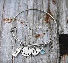 Alex And Ani Bracelet - Mother Bracelet - Personalized - Adjustable - Birthstone - New Mom - Mother's Day - Grandmother - Hand Stamped