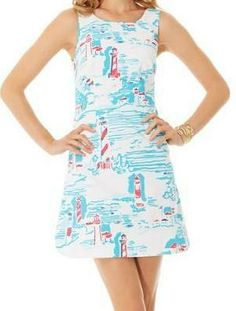 Lilly Pulitzer Delia Shift Dress in Resort White Watch Out