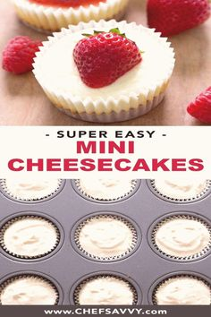 #Easy #to #make #desserts #favourite #cupcakes Mini Cheesecake Cupcakes your favourite layered dessert in miniature form A crunchy graham cracker crust smothered in tangy sweet cream cheese topped with your choice of strawberry or salted caramel sauce this bitesized make ahead delight is sure to be a hit at your next potluck or party  brp classfirstletterYou are in the right place about potluckpIt is one of the top quality images that can be presented with this vivid and remarkable figure… Make Ahead Desserts, Bite Size Desserts, Desserts For A Crowd, Mini Desserts, Christmas Desserts, Chocolate Desserts, Easy Desserts, Microwave Desserts, Mini Cheesecake Cupcakes