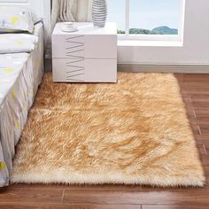 Rectangle Animal Free Soft Faux Sheepskin Fur Area Rugs for Bedroom Floor Shaggy Silky Plush Carpet White Faux Fur Rug Bedside Rugs