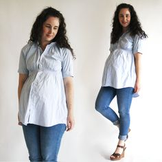How to make a shirred maternity top using a mens button up shirt // www.DIYMATERNITY.com