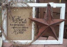 Burlap/window with star - could put a picture on the one side. Old Window Crafts, Old Window Projects, Window Ideas, Country Crafts, Country Decor, Rustic Decor, Farmhouse Decor, Burlap Crafts, Decor Crafts