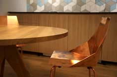 Copper Chair & Oak Wood, Old Town Apt. in Bratislava, Slovakia, more info at www. Old Town, Architects, Bratislava Slovakia, Beef, House Design, Chair, Wood, Table, Copper
