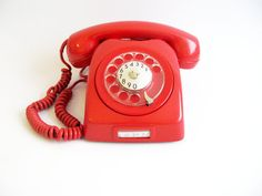 Vintage Rotary Phone- Dial Phone Shiny Red 70s - Red House decor- Retro European Rotary Phone- Red rotary phone on Etsy, $49.00