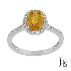 14K White Gold 1.33 Cts Round Diamond & Natural Yellow Citrine AA Ring - JHS #WomensFancyGemStoneRingJHS
