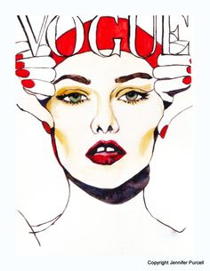 Ilustracion de moda Vogue Cover Vanessa Paridis Fondos de pantalla párr Android Wallpaper