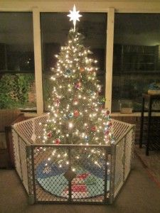 """""""Toddler-proof Christmas tree"""" sure, because I want my kids to remember Christmas as """"well, we keep our tree in a cage.."""""""