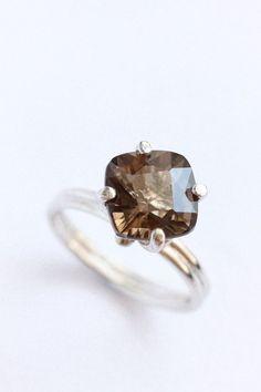 smoky quartz cocktail ring, sterling silver