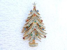 ART Christmas Tree Brooch latered gold tone and by MeyankeeGliterz