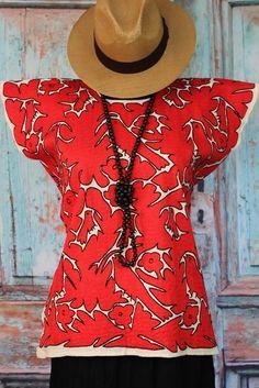 Red & Black Ayautla Huipil Hand Embroidered Mexico Frida, Boho, Santa Fe Style #Handmade #MexicanDress