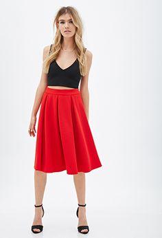 Textured Midi Skirt   FOREVER21 - 2000118406