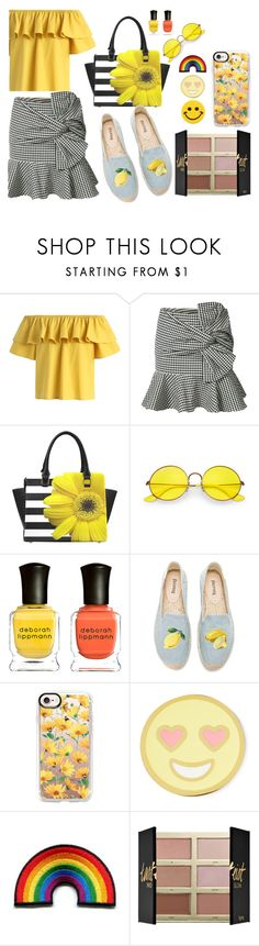 """Yellow"" by ploggerblogger on Polyvore featuring Chicwish, Veronica Beard, Ray-Ban, Deborah Lippmann, Soludos, Casetify, Stoney Clover Lane, tarte and Hollywood Mirror"