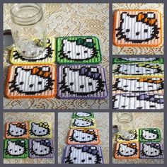 Set of 4 plastic canvas Hello Kitty coasters by ~bedtymegal on deviantART