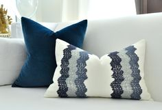 WAVY STITCH lumbar pillow cover in Mineral by woodyliana on Etsy