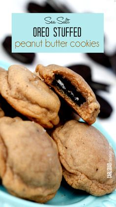 The BEST PB cookie ever!  Soft and chewy peanut butter cookies, with soft, melty Oreos inside balanced by savory sea salt AND as easy as wrapping an Oreo in a PB cookie but tastes like you spent hours!  Such a fun cookie to bring to friends and parties!