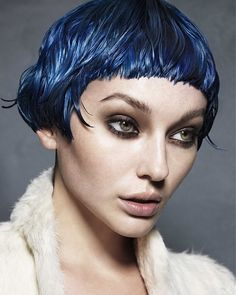 Short Blue straight coloured defined-fringe womens haircut hairstyles for women