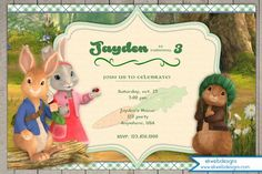 peter rabbit party invitations - Google Search