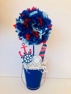 This Nautical Baby Shower or Birthday Centerpiece Decoration is the perfect way to set the tone to your upcoming event or Party. Each Centerpiece is handcrafted by me and made to order. Using a special technique I make a beautiful tissue paper ball at the top that measures 5-6 round