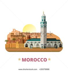 #Morocco #country #vector #illustrations #Africa #landmarks collection…