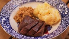 Pan roast loin of venison with redcurrant jelly