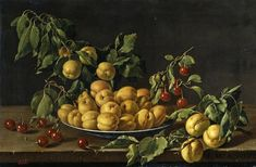 Still life of apricots in a ceramic bowl, with branches of apricots and their foliage protruding outwards, together with cherries and a single branch of apricots, all arranged upon a plain table top by Luis Meléndez Still Life Flowers, Still Life Fruit, Eat Fruit, Fruit And Veg, Francisco Zurbaran, Naples, Robert Campin, Forms Of Poetry, Jan Van Eyck