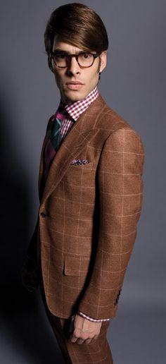 brown suit windowpane - Cerca con Google
