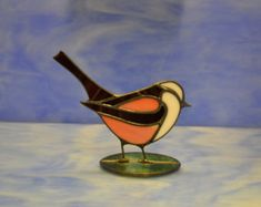 Stained Glass Longtail Tit Suncatcher Decoration Hand made