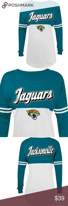 NWT Women's NFL Jacksonville Jaguars ❤NWT❤, Long sleeve,  Jacksonville Jaguars  Varsity spirit baby Jersey tee , cotton , crew neck machine washable inside out with authentic NFL team apparel tag attached.    Please ask any and all questions before purchasing this item. NFL Team Gear  Tops Tees - Long Sleeve