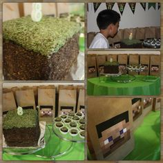 Minecraft dirt block cake and square cupcakes. Lots of Oreo cookie crumbs. I used ordinary brown paper lunch bags as party loot bags.