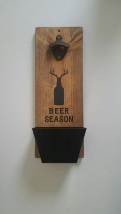 Wall Mount Bottle Opener and Cap Catcher, 6th Anniversary Cast Iron Gift, Hunter Gifts  Beer Season  Made to order. Pictures are previous orders.  This handsome Wall mount Bottle Opener is stained and painted.  Perfect for a man cave, home bar, garage, or anyplace where everyone comes together to enjoy their favorite bottled beverage  Great novelty piece for the guy or gal who has everything.  Anyone who is deserving of a UNIQUE ONE OF A KIND gift!  Our Bottle Openers make GREAT anniversary…