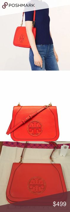 Tory Burch Stud Shoulder Bag Samba (color, red) pebble Leather iconic logo circles with brass embellishment. It is also a clutch once the strap is removed Tory Burch Bags Shoulder Bags