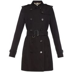 Burberry London Kensington mid-length gabardine trench coat found on Polyvore featuring outerwear, coats, jackets, black, black trenchcoat, mid length trench coat, gabardine coat, black trench coat and black coat