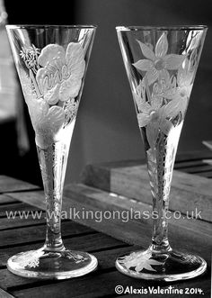 Retirement Gifts for Anne & Margaret with Hand Drill Engraved flowers by Alexis Valentine of www.facebook.com / walkingonglass.co.uk