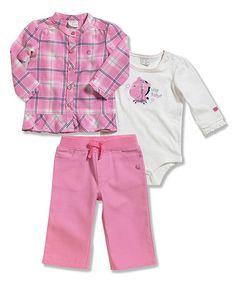 ba5b69ac91 Pink Plaid Button-Up Set - Infant