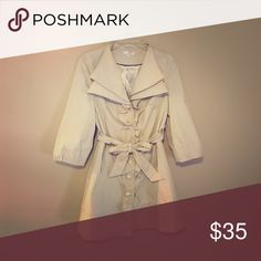 ⌛️LAST CHANCE: closet clean up ⌛️Ruffled jacket This light coat is ruffled down the center with double buttons for expandable wear. 3/4 sleeves with statement collar. Ties at waist for chic fitted look! Top button needs to be sewn back on. Kenar Jackets & Coats Trench Coats