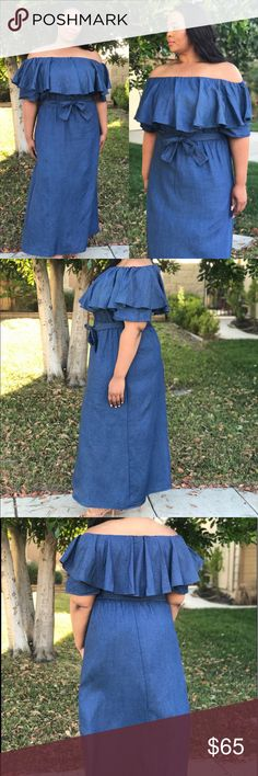 ❤️Host Pick❤️ Denim off the shoulder Maxi dress Stay Cool in this blue off the shoulder Maxi dress. It has a belt. The perfect dress to wear on those hot summer days or summer nights. Dresses Maxi