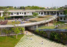 Children can grow vegetables on the roof of this kindergarten in Vietnam.