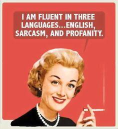 I am fluent in three languages... English, Sarcasm, and profanity