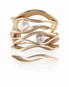 Nada G pearl and diamond Mood Swings rings