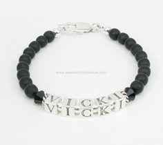Men's Cancer Awareness Bracelet with Black Swarovski Crystals for Melanoma Cancer Awareness.