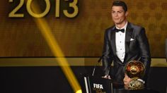 Real Madrid's Portuguese forward Cristiano Ronaldo delivers a speech after receiving the 2013 FIFA Ballon d'Or award for player of the year ...