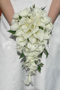 Ivory Calla Lily Cascading Bridal Bouquet w/ Jasmine Leaves